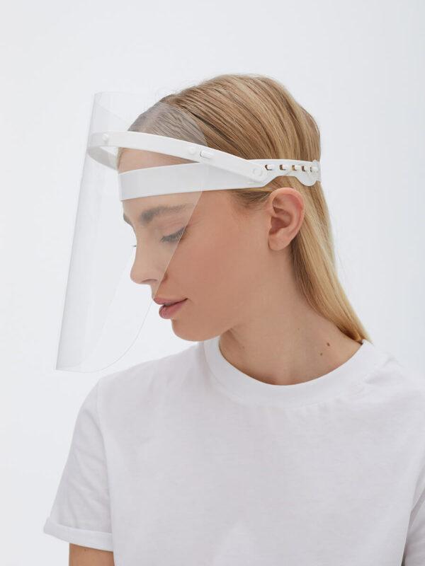 Antifog Face Shield Blau DIN EN 166 Zertifiziert Weiss